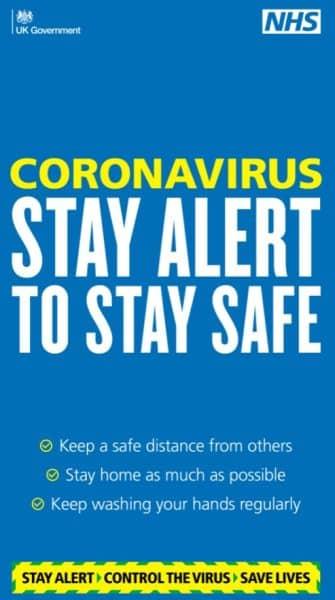 Coronavirus Stay Alert to Stay Safe sign