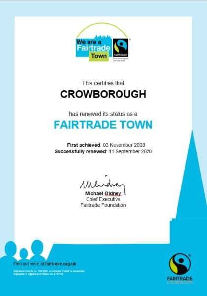 Crowborough Fairtrade Town Certificate