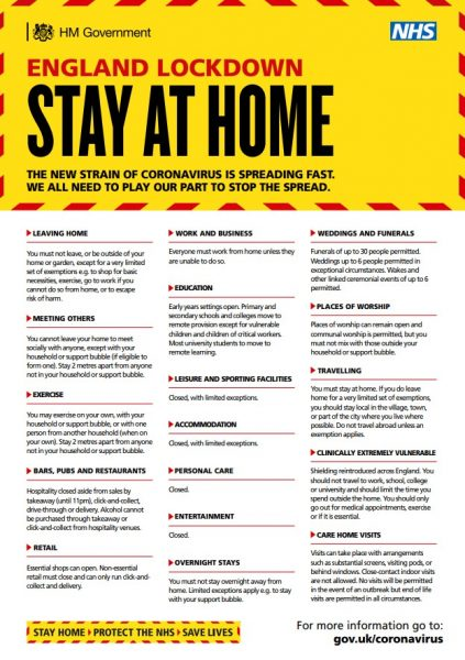 England Lockdown - Stay At Home Poster